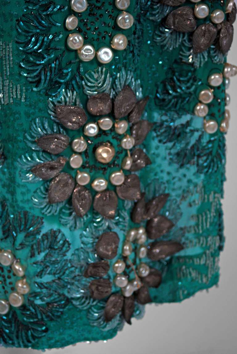 1920's Teal-Blue Beaded Silk-Chiffon & Metallic-Gold Lace Deco Flapper Dress 4