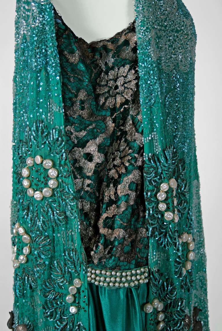 1920's Teal-Blue Beaded Silk-Chiffon & Metallic-Gold Lace Deco Flapper Dress 3