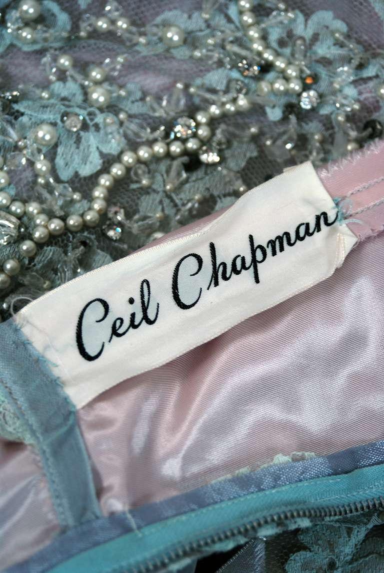 Women's 1950's Ceil Chapman Periwinkle Beaded Rhinestone Lace Cocktail Wiggle Dress For Sale