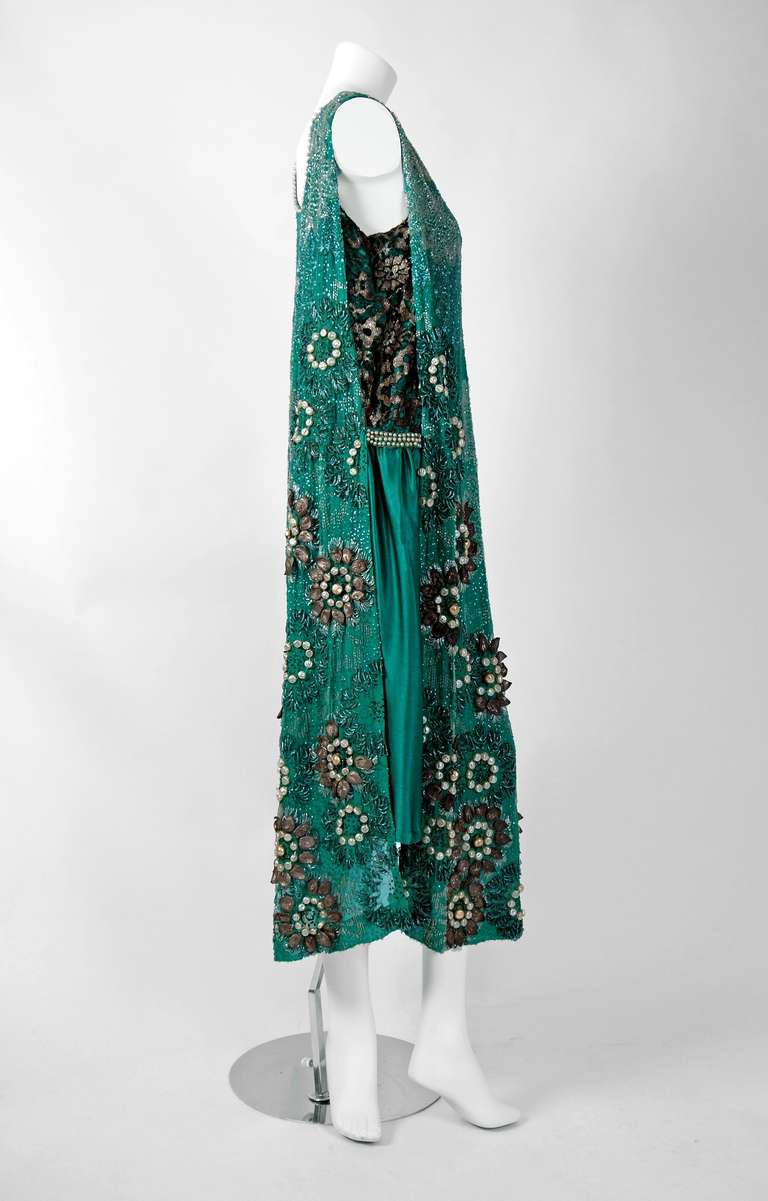 1920's Teal-Blue Beaded Silk-Chiffon & Metallic-Gold Lace Deco Flapper Dress 2