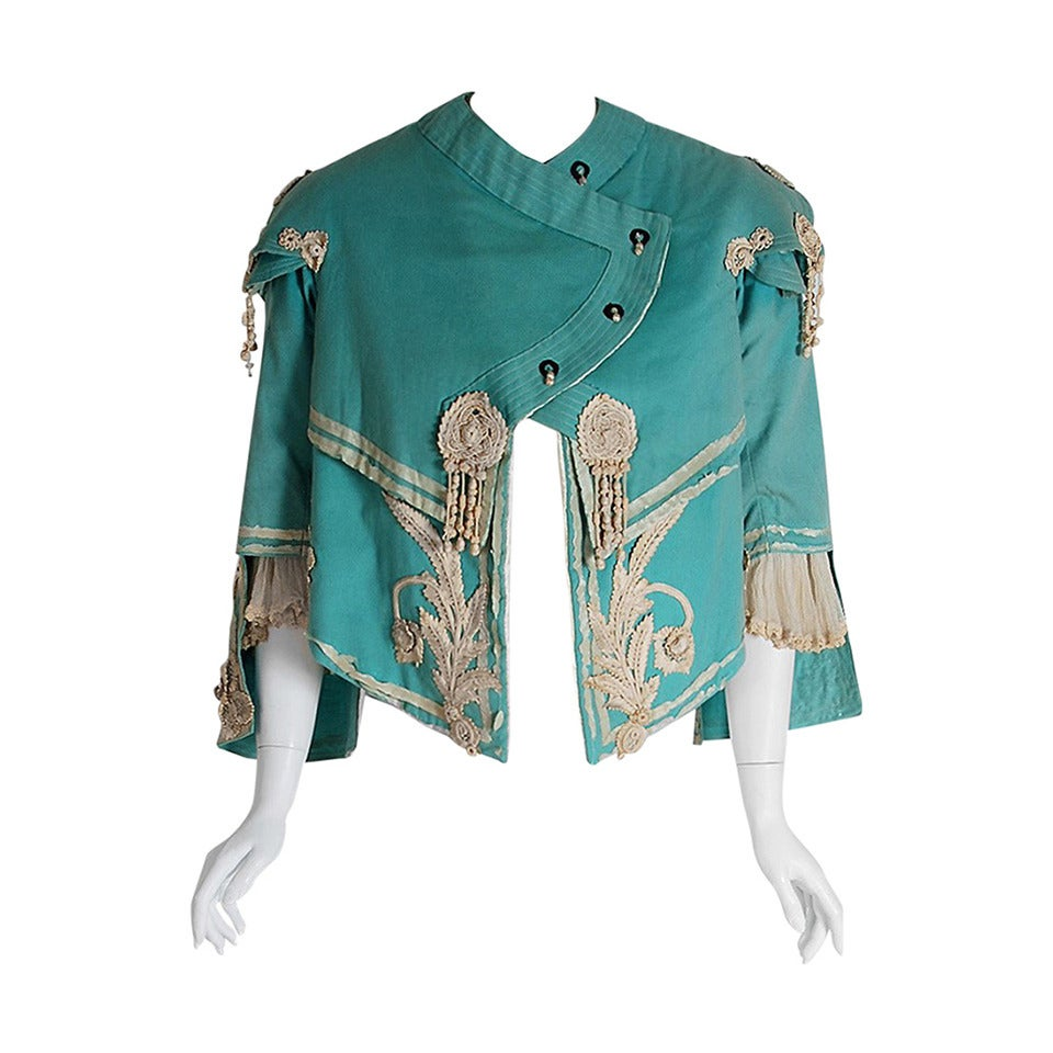 1890's Victorian Antique Tiffany-Blue Applique Wool Bell-Sleeve Cropped Jacket For Sale