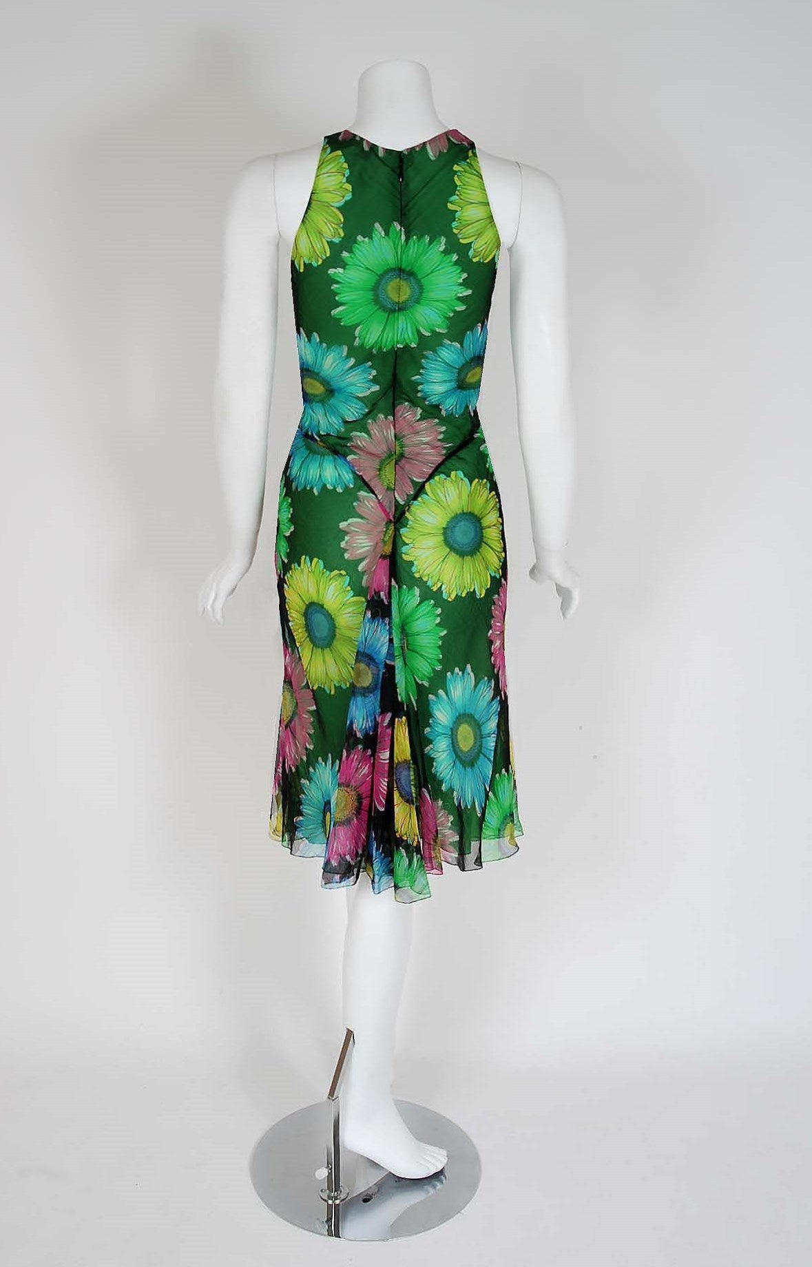 1990's Gianni Versace Couture Sunflower Floral Chiffon Bias-Cut Fishtail Dress In Excellent Condition For Sale In Beverly Hills, CA