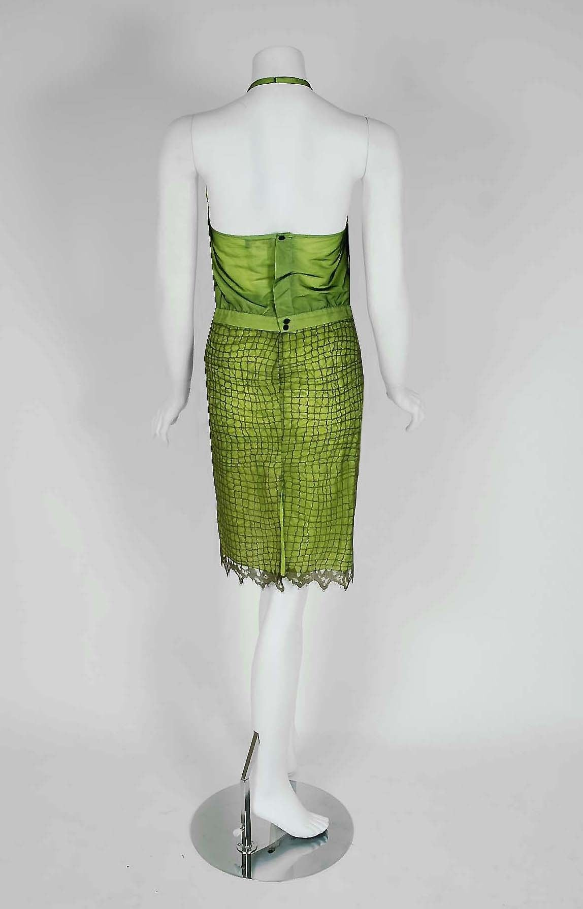 1990's Gianni Versace Couture Chartreuse Fringe Lace Halter Cocktail Dress Set 5