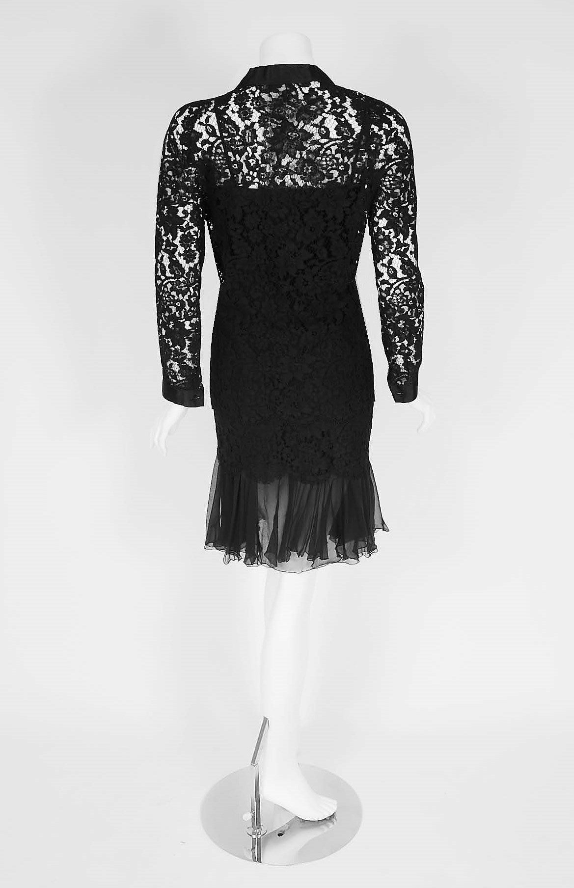 1990's Chanel Black Lace & Silk-Chiffon Illusion Hourglass Cocktail Dress Set 5