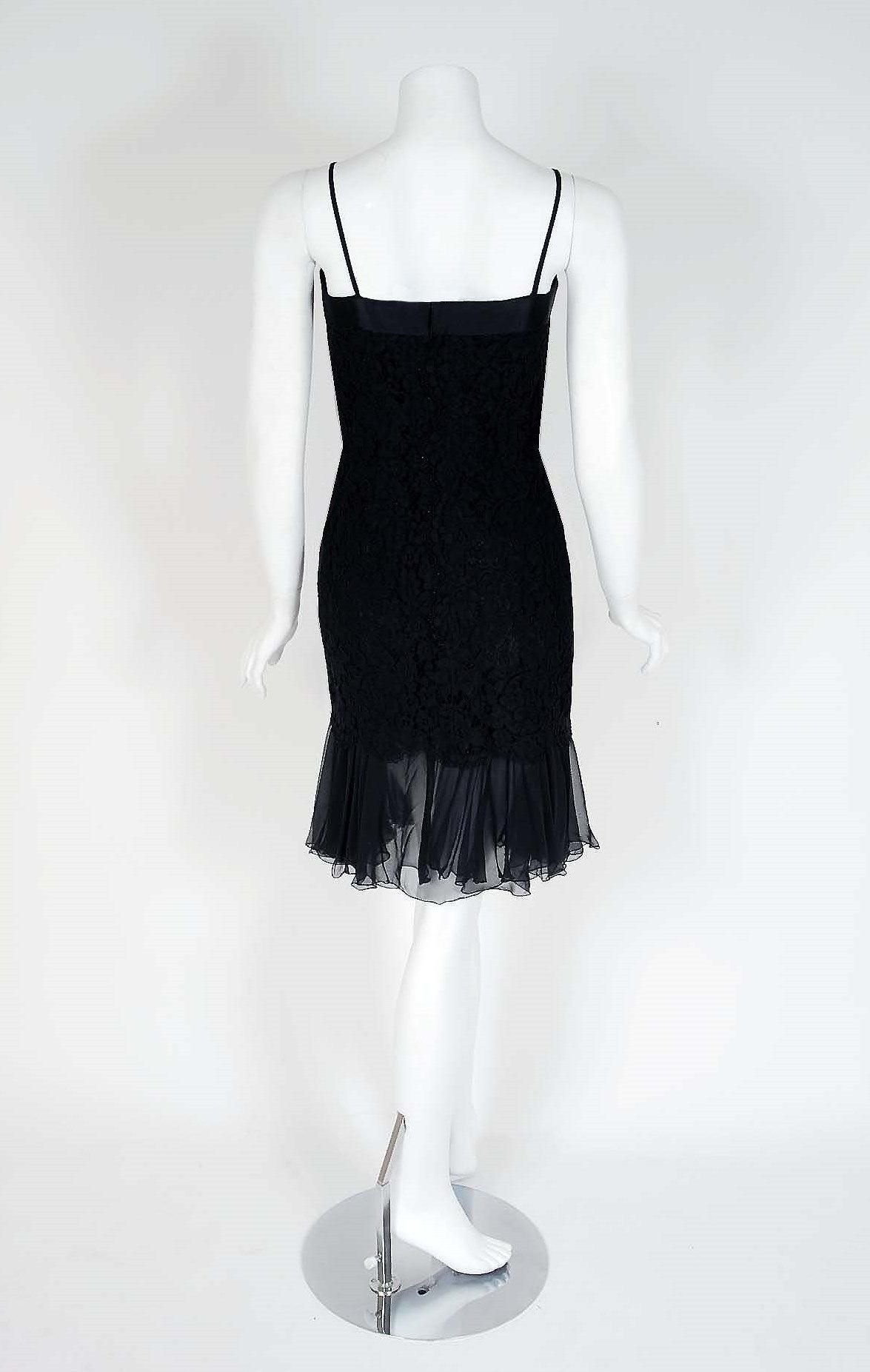 1990's Chanel Black Lace & Silk-Chiffon Illusion Hourglass Cocktail Dress Set 4