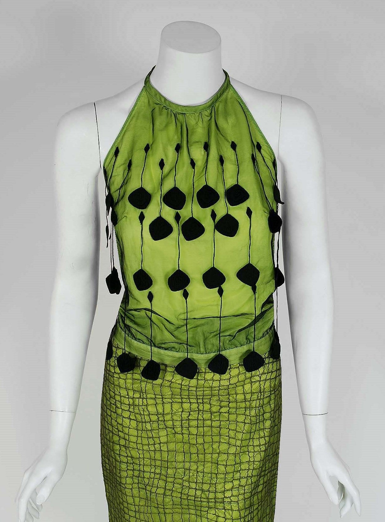 1990's Gianni Versace Couture Chartreuse Fringe Lace Halter Cocktail Dress Set 2