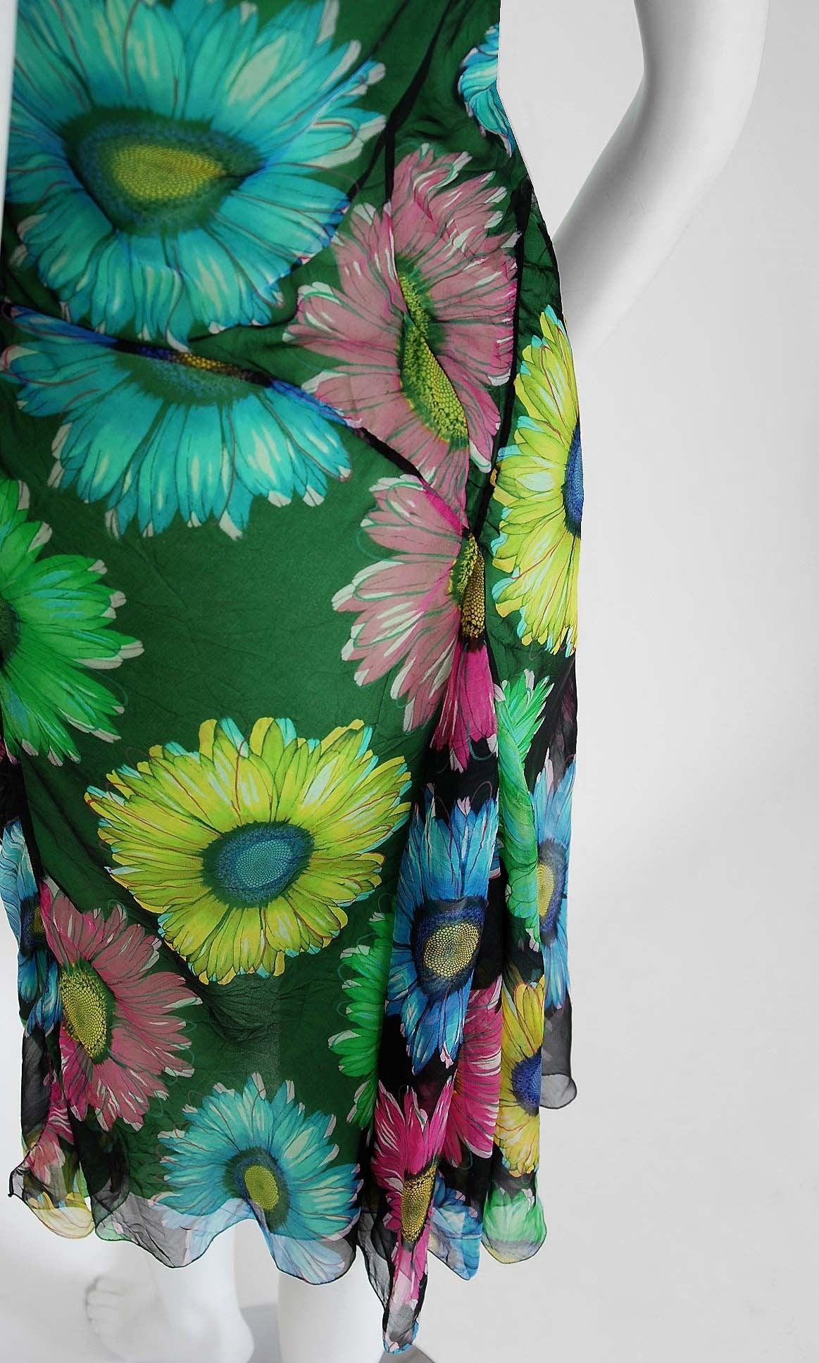 Women's 1990's Gianni Versace Couture Sunflower Floral Chiffon Bias-Cut Fishtail Dress For Sale