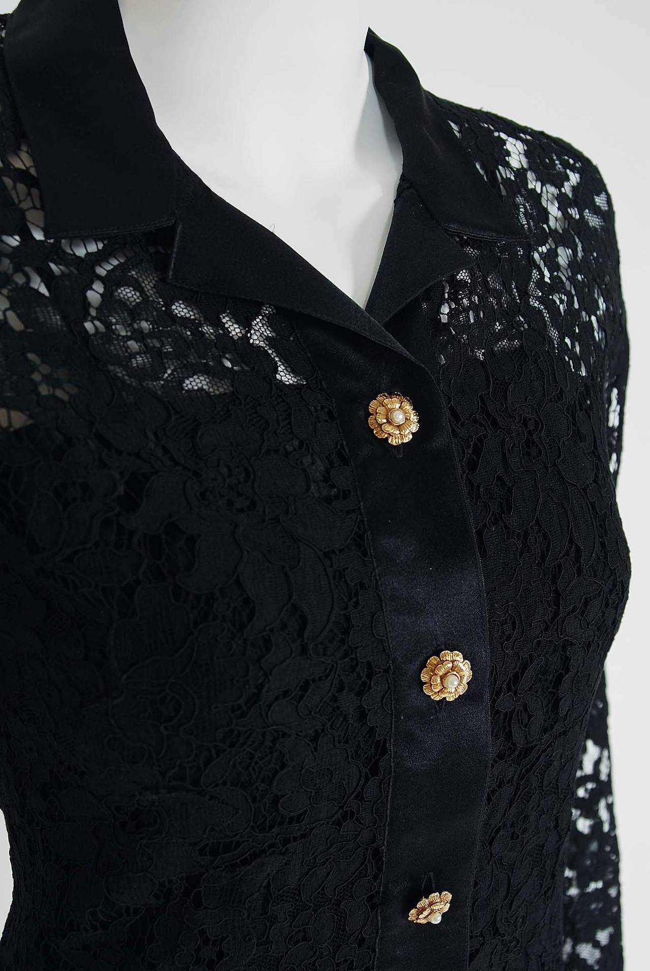 1990's Chanel Black Lace & Silk-Chiffon Illusion Hourglass Cocktail Dress Set 2