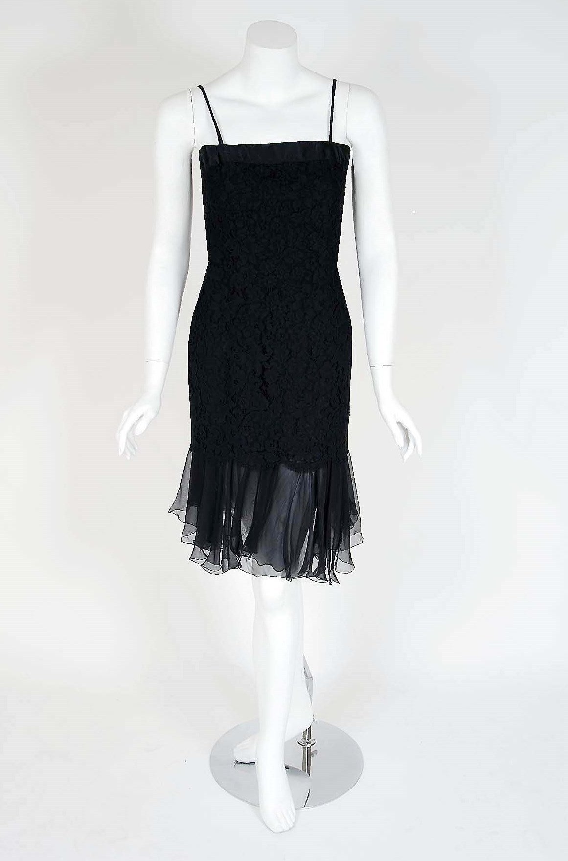 1990's Chanel Black Lace & Silk-Chiffon Illusion Hourglass Cocktail Dress Set 3