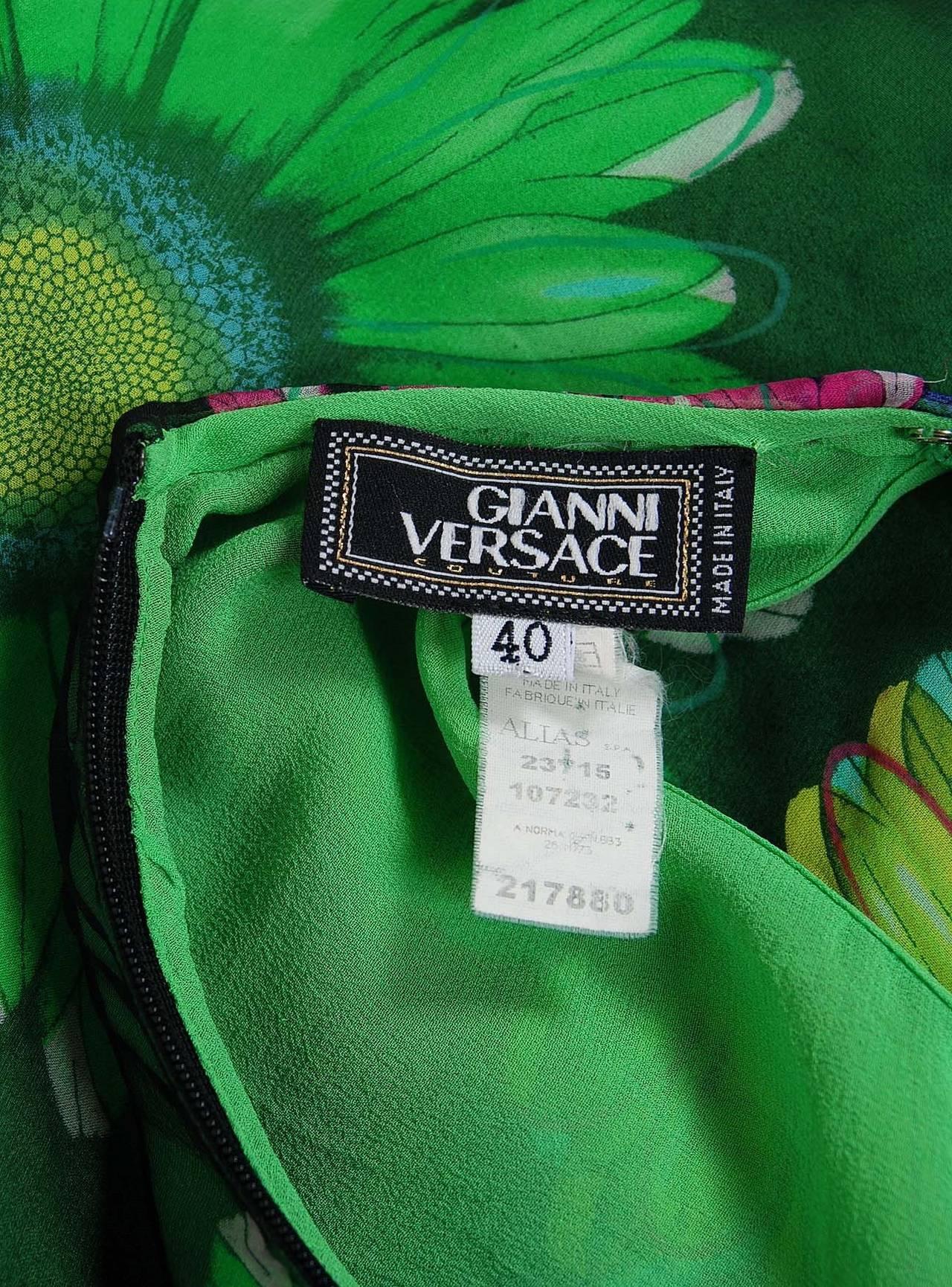 1990's Gianni Versace Couture Sunflower Floral Chiffon Bias-Cut Fishtail Dress For Sale 1