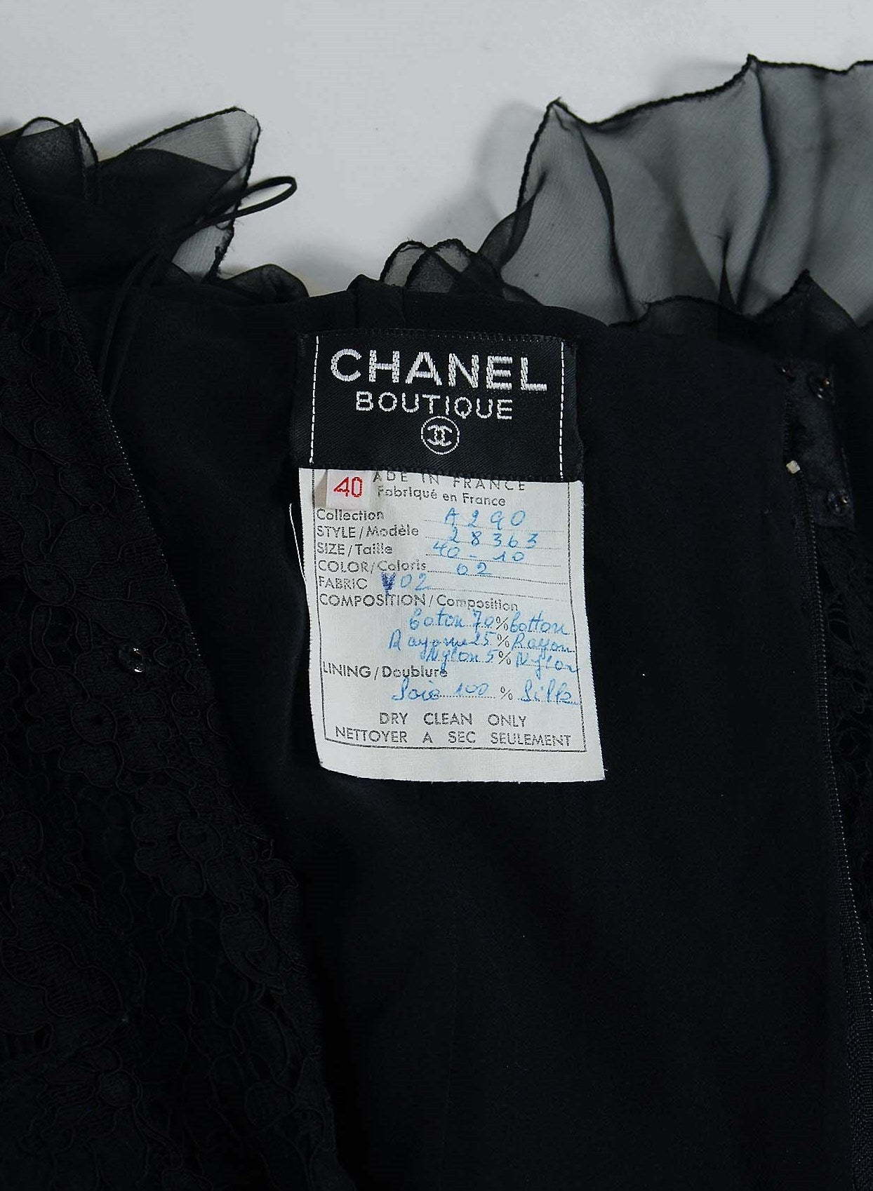 1990's Chanel Black Lace & Silk-Chiffon Illusion Hourglass Cocktail Dress Set 6