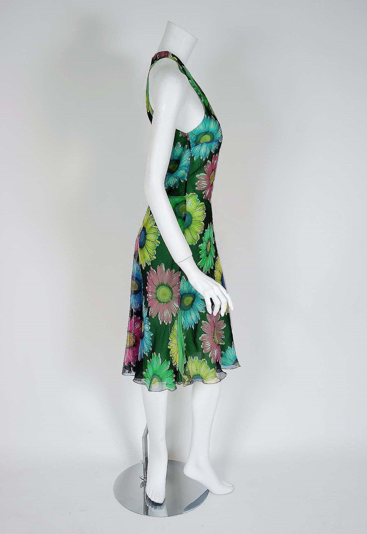 Blue 1990's Gianni Versace Couture Sunflower Floral Chiffon Bias-Cut Fishtail Dress For Sale