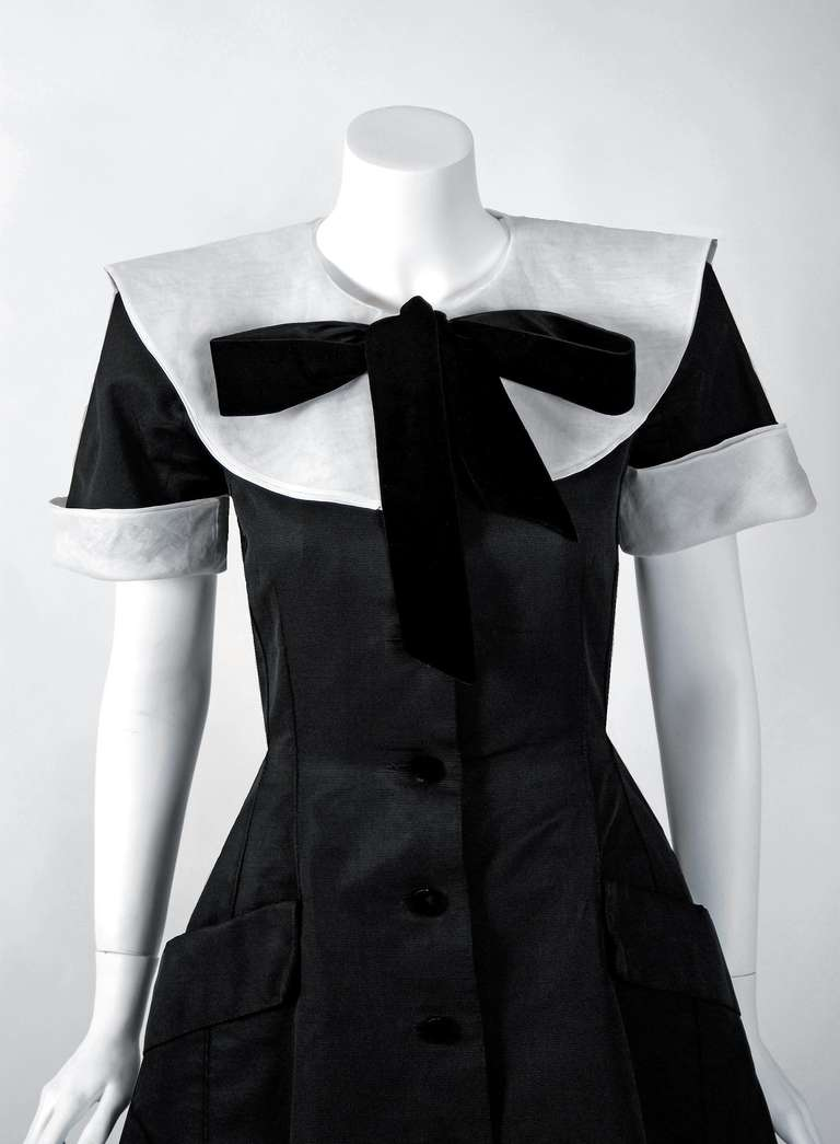 1989 Valentino Couture Silk-Faille Black & White Tuxedo Cocktail Dress 2