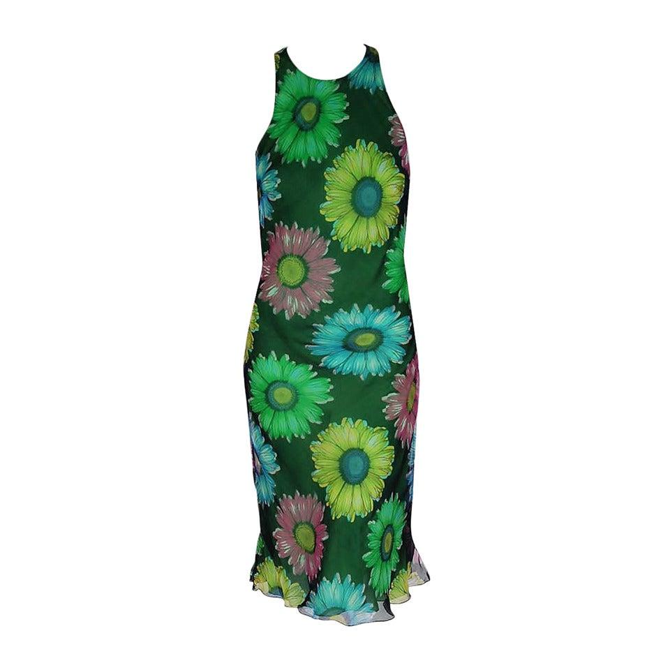 1990's Gianni Versace Couture Sunflower Floral Chiffon Bias-Cut Fishtail Dress For Sale