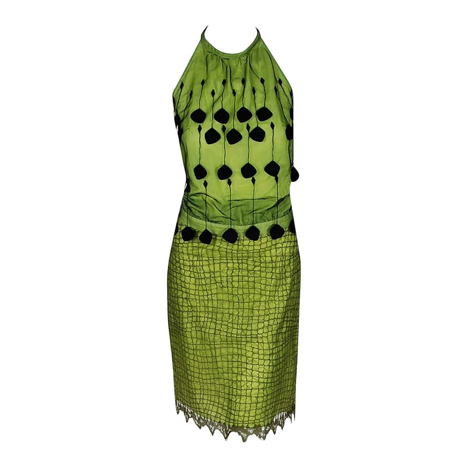 1990's Gianni Versace Couture Chartreuse Fringe Lace Halter Cocktail Dress Set 1