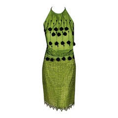 1990's Gianni Versace Couture Chartreuse Fringe Lace Halter Cocktail Dress Set