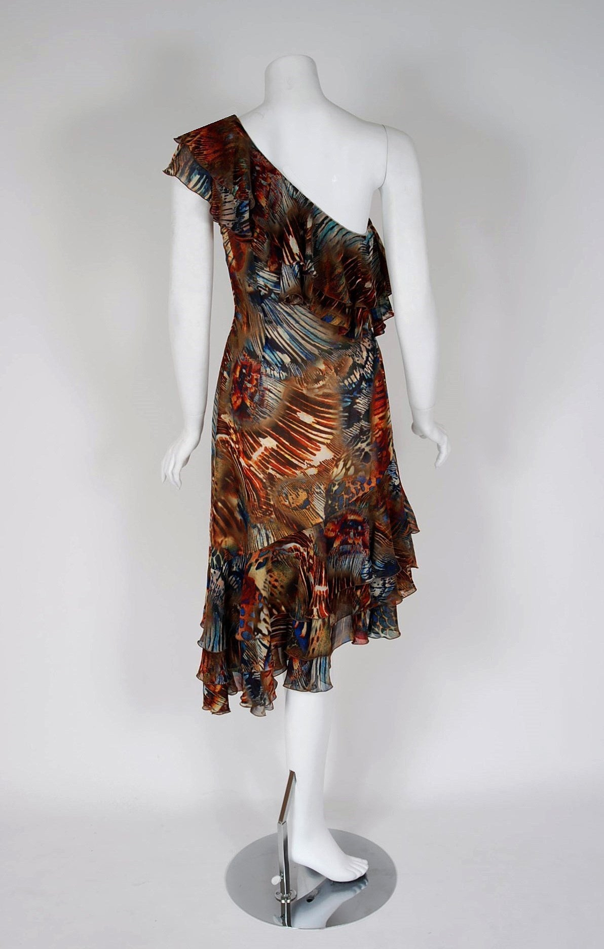 1994 Thierry Mugler Couture Abstract Feather Print Silk One-Shoulder Dress 5