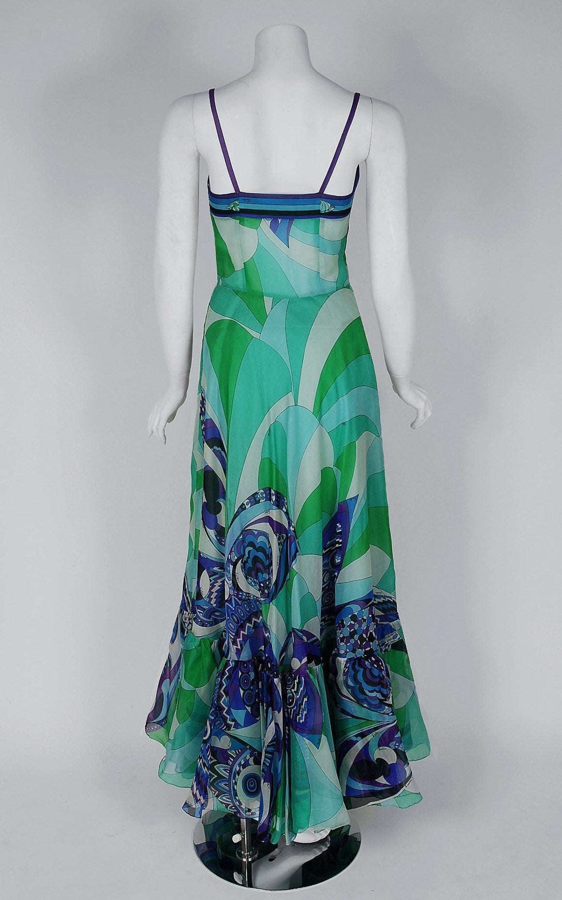1960's Emilio Pucci Couture Blue Green Print Silk Mermaid Dress & Fringed Shawl For Sale 1