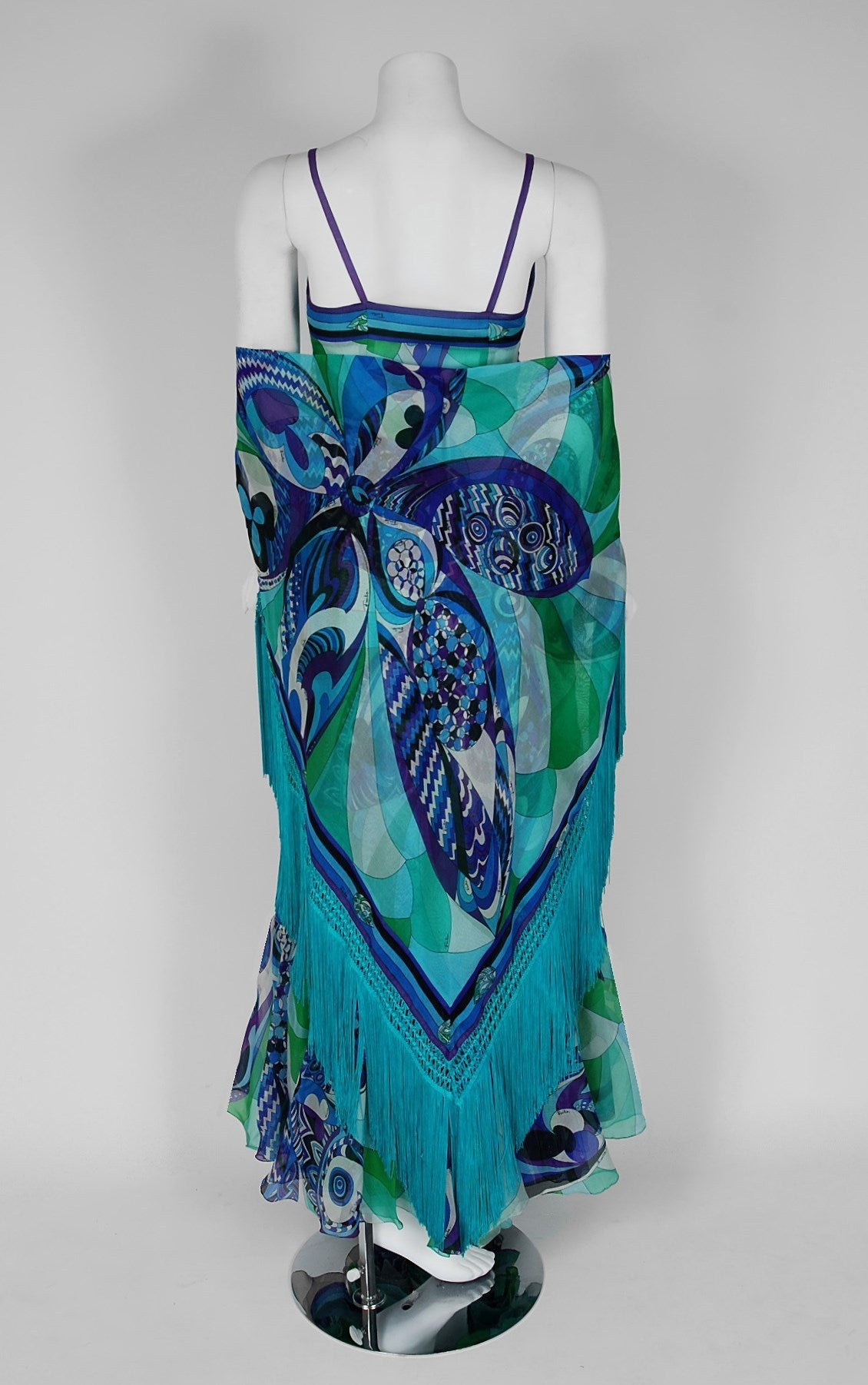 Women's 1960's Emilio Pucci Couture Blue Green Print Silk Mermaid Dress & Fringed Shawl For Sale