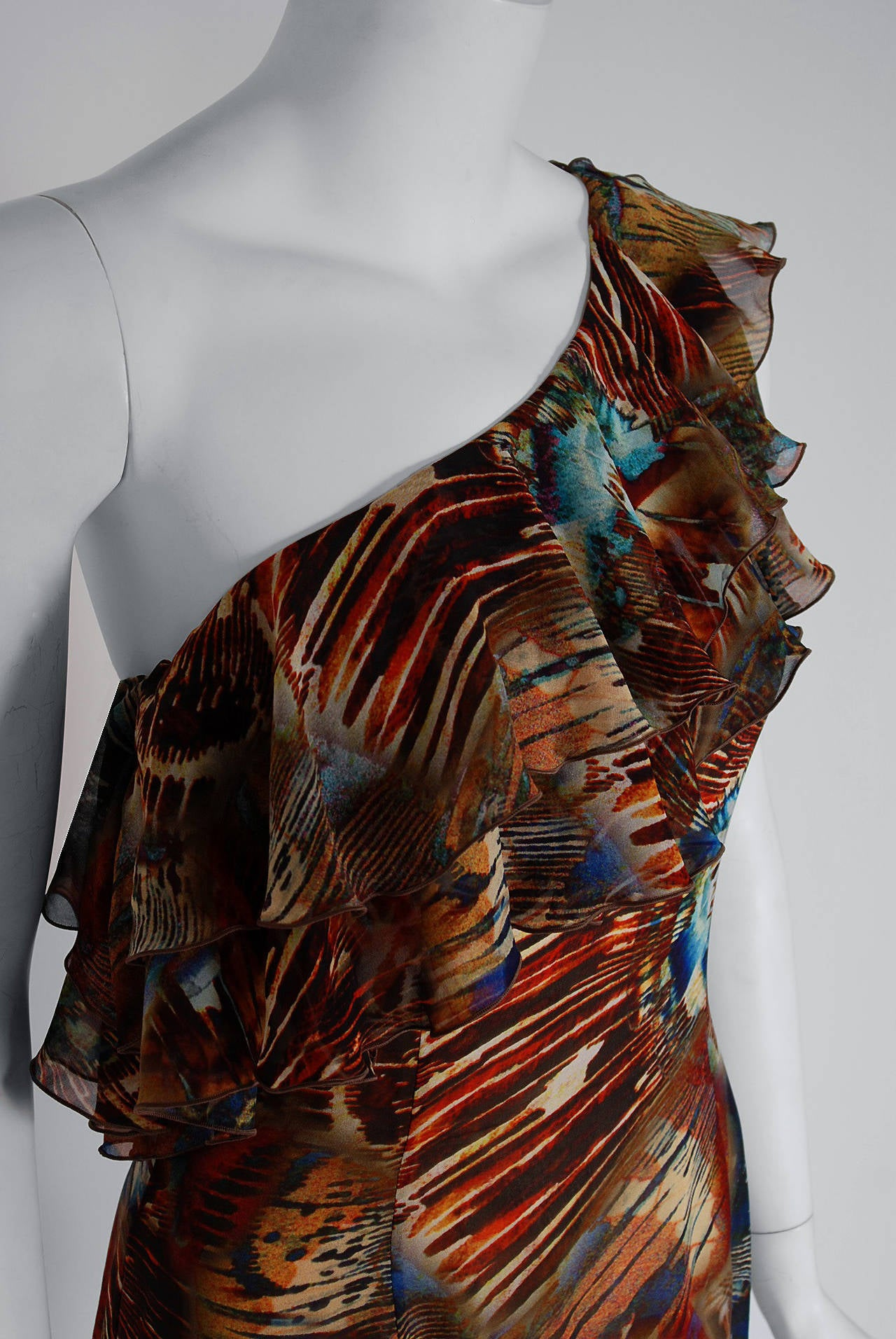 1994 Thierry Mugler Couture Abstract Feather Print Silk One-Shoulder Dress 2
