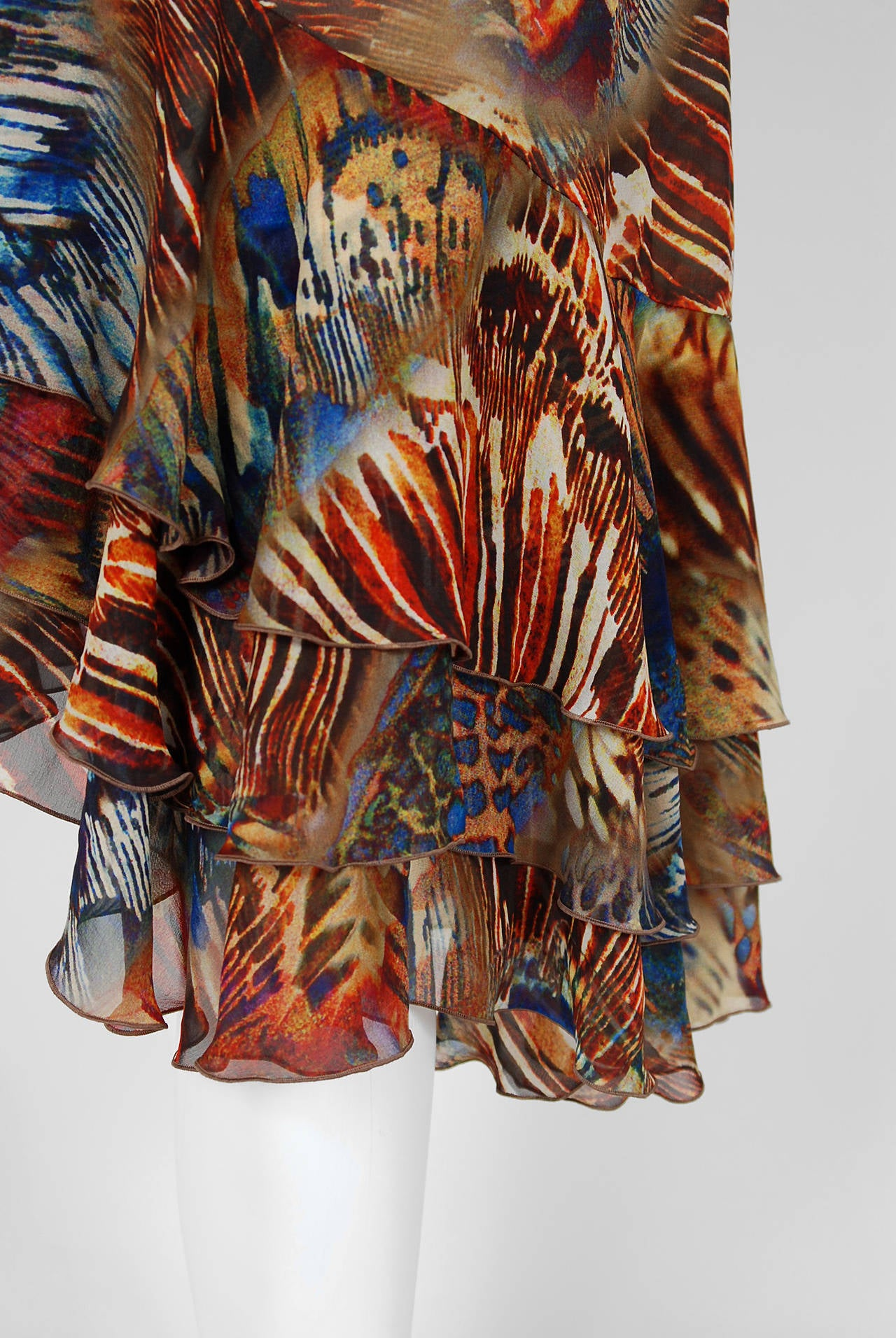 1994 Thierry Mugler Couture Abstract Feather Print Silk One-Shoulder Dress 3
