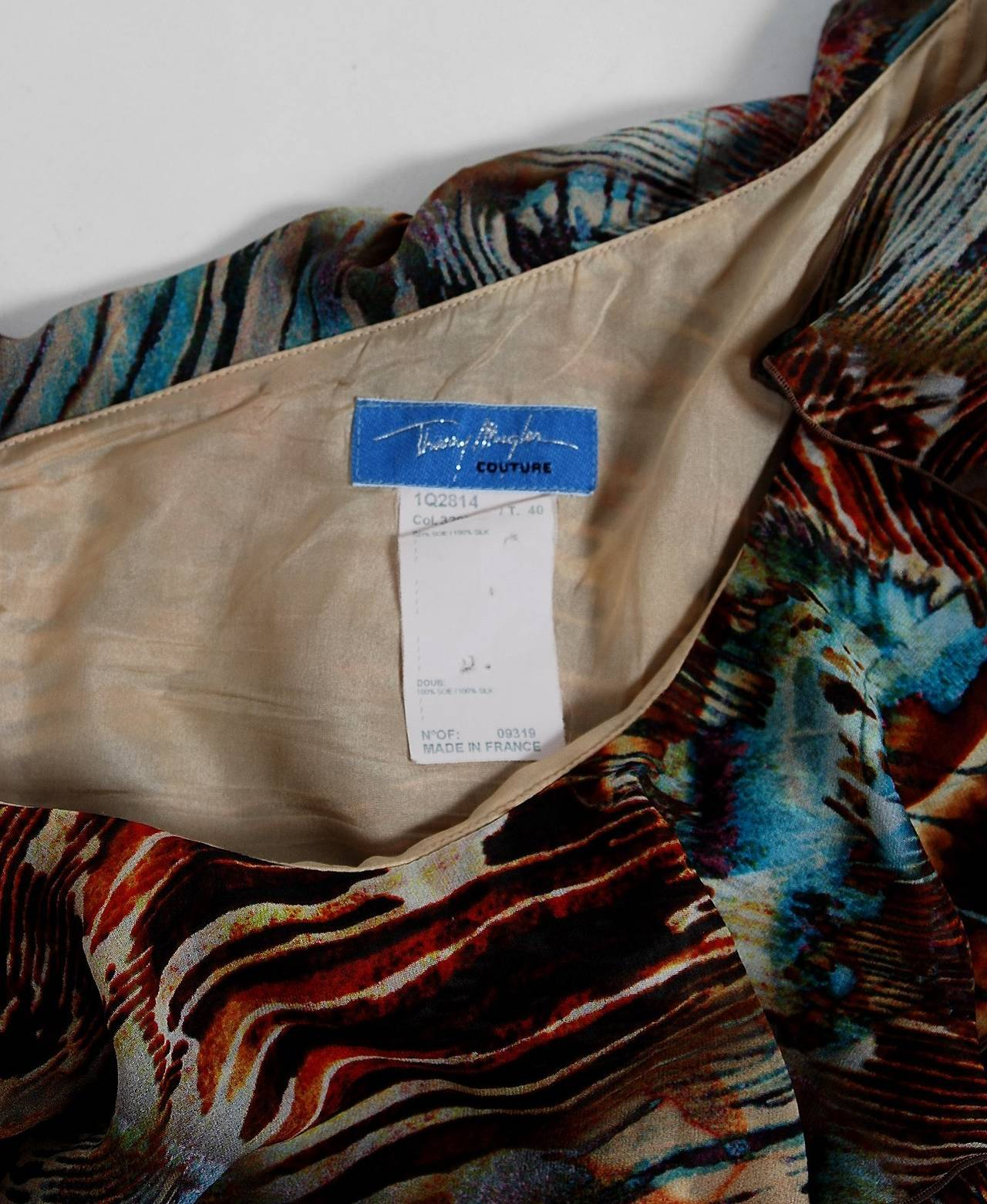 Thierry Mugler Couture Abstract Feather Print Silk One-Shoulder Dress, 1994  For Sale 1