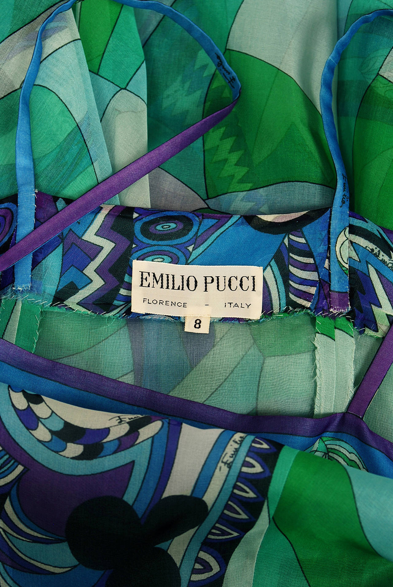 1960's Emilio Pucci Couture Blue Green Print Silk Mermaid Dress & Fringed Shawl For Sale 2