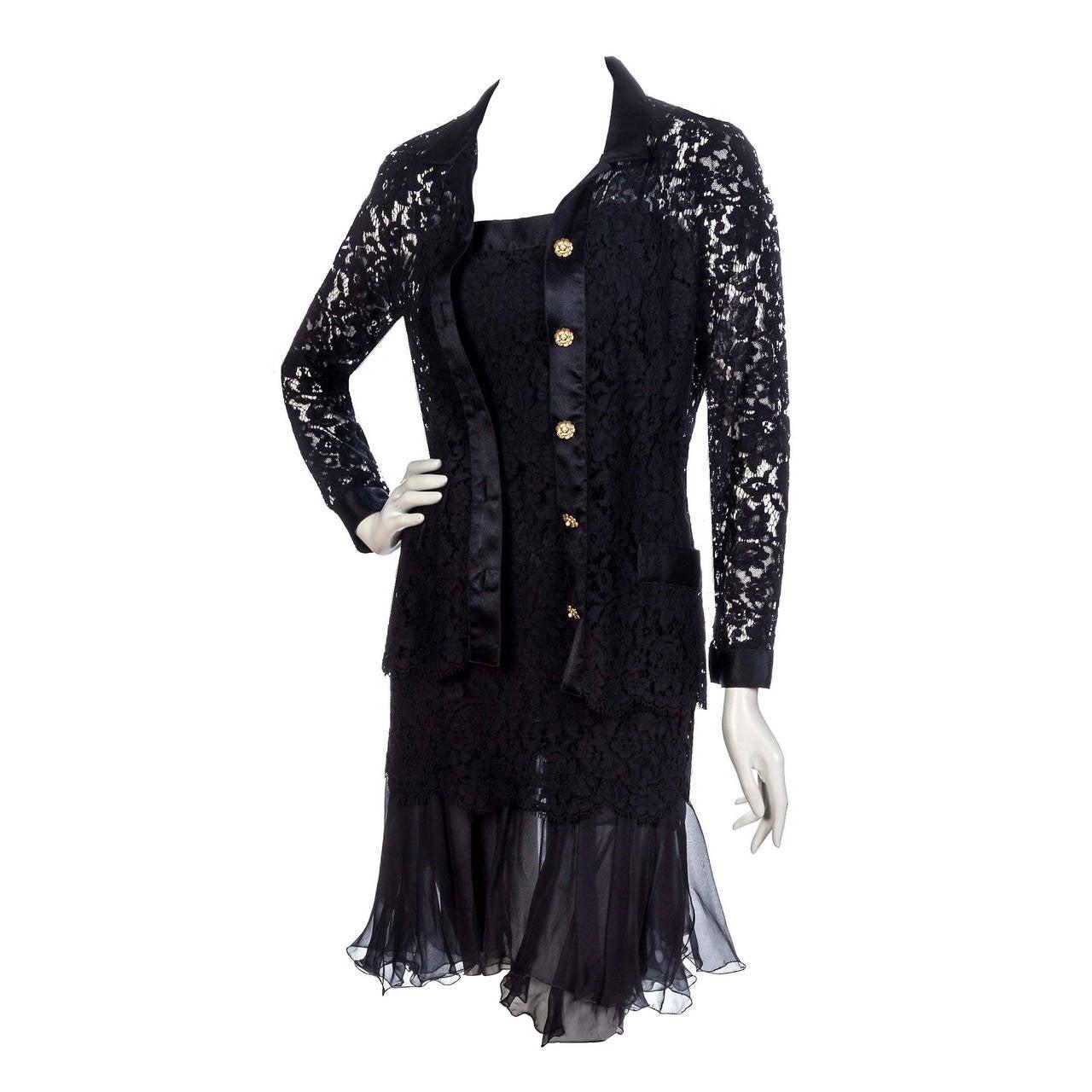 1990's Chanel Black Lace & Silk-Chiffon Illusion Hourglass Cocktail Dress Set 1