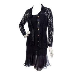 1990's Chanel Black Lace & Silk-Chiffon Illusion Hourglass Cocktail Dress Set