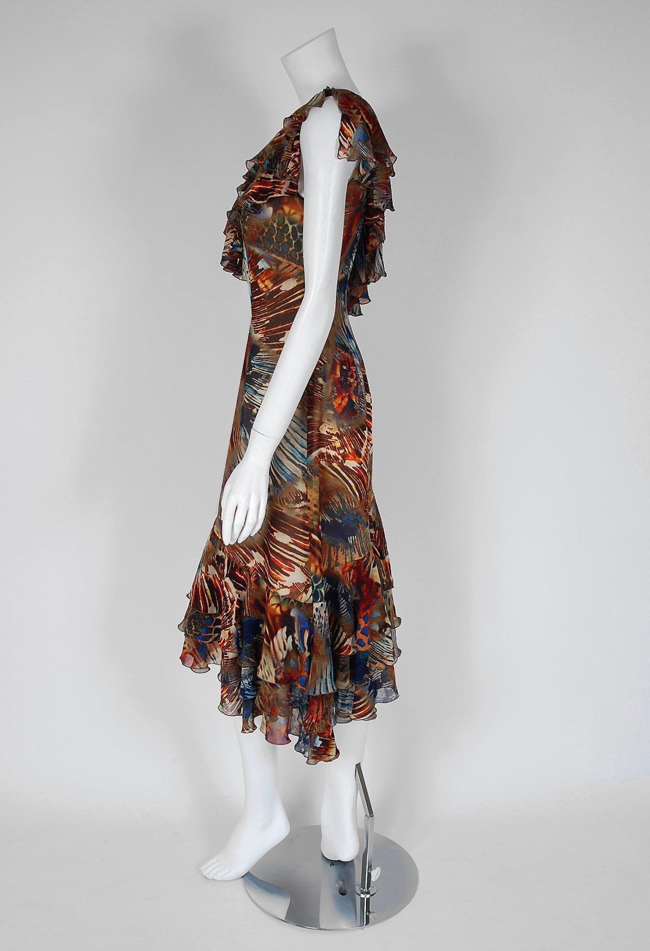 1994 Thierry Mugler Couture Abstract Feather Print Silk One-Shoulder Dress 4
