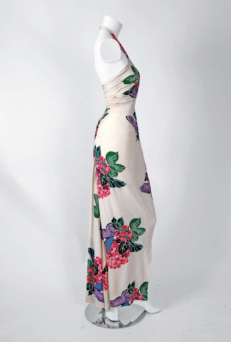 1930's Andree Gay Tropical Floral-Print Silk Cut-Out Halter Fishtail Gown 3