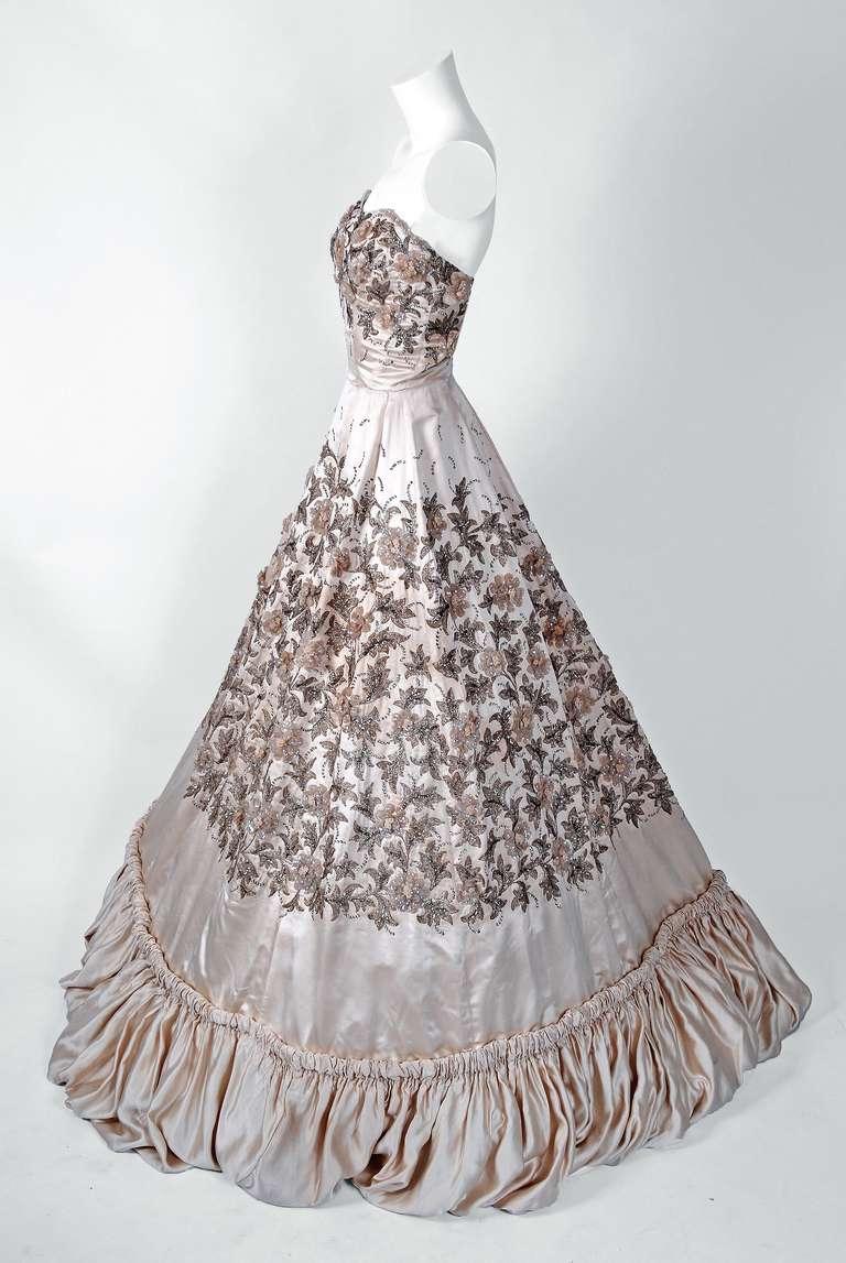 1955 pedro rodriguez haute couture champagne embroidered for Haute couture sale