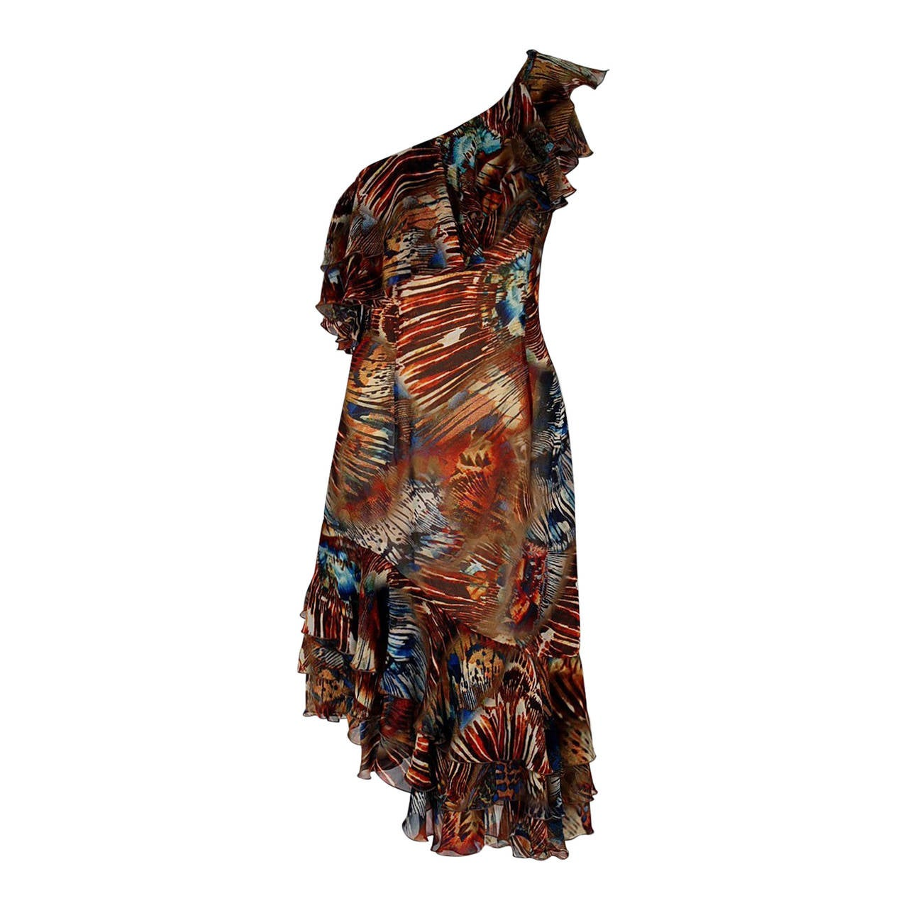 1994 Thierry Mugler Couture Abstract Feather Print Silk One-Shoulder Dress
