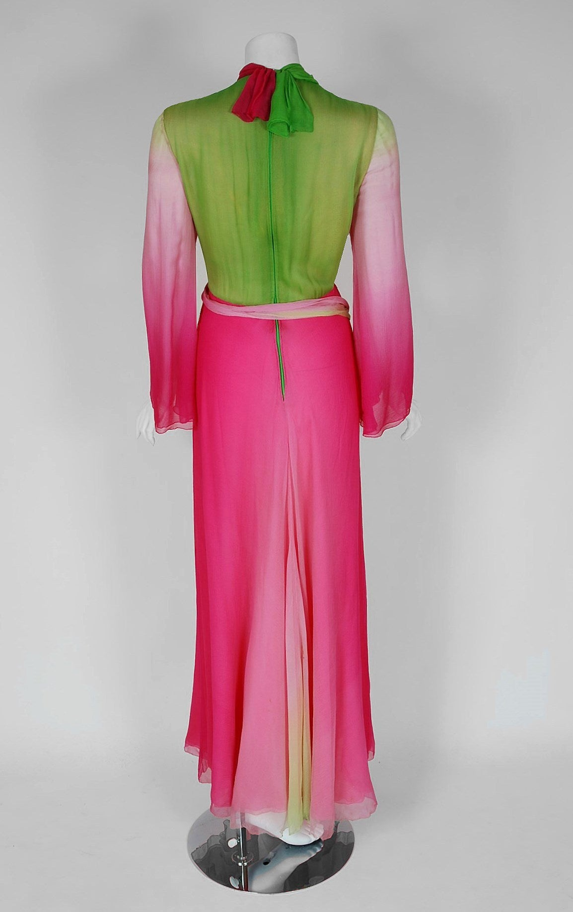 1970's Pauline Trigere Pink & Green Ombre Silk Chiffon Bell-Sleeve Goddess Gown 6
