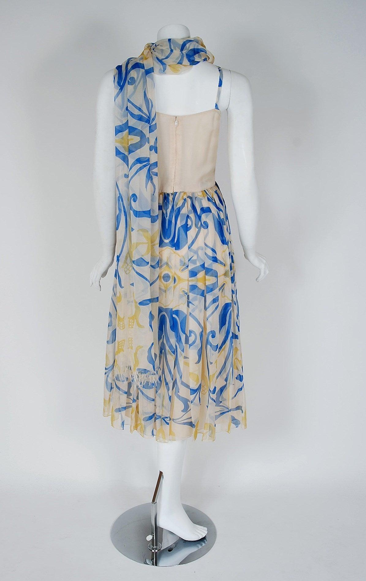 1970's Galanos Blue Yellow Abstract Print Silk-Chiffon Goddess Dress & Shawl 5