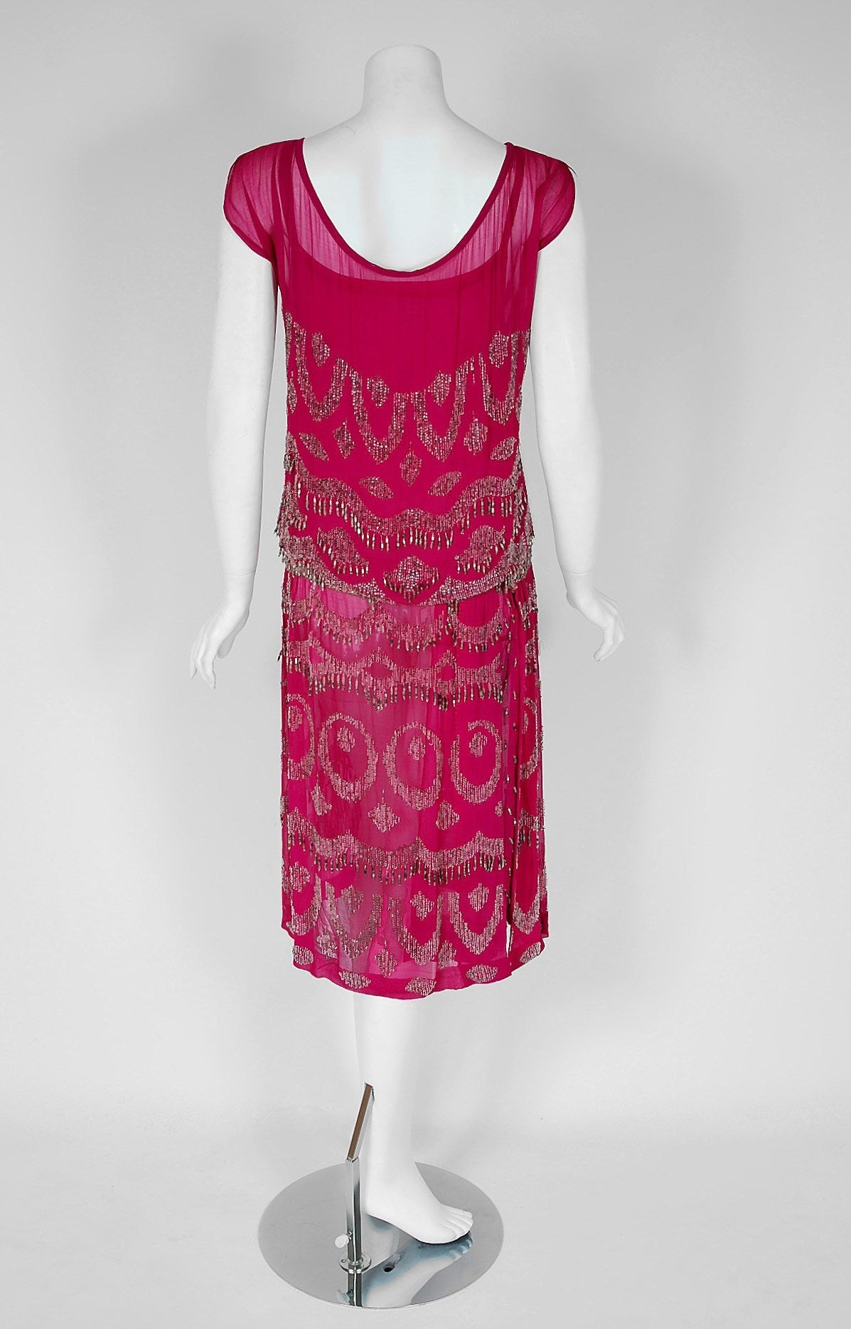 1920's French Couture Fuchsia-Pink Beaded Deco Silk-Chiffon Flapper Dress 5