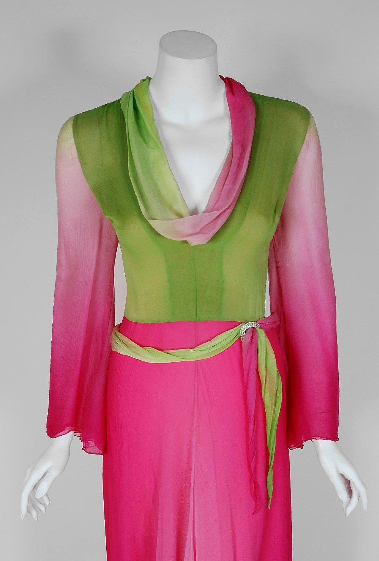 1970's Pauline Trigere Pink & Green Ombre Silk Chiffon Bell-Sleeve Goddess Gown 3