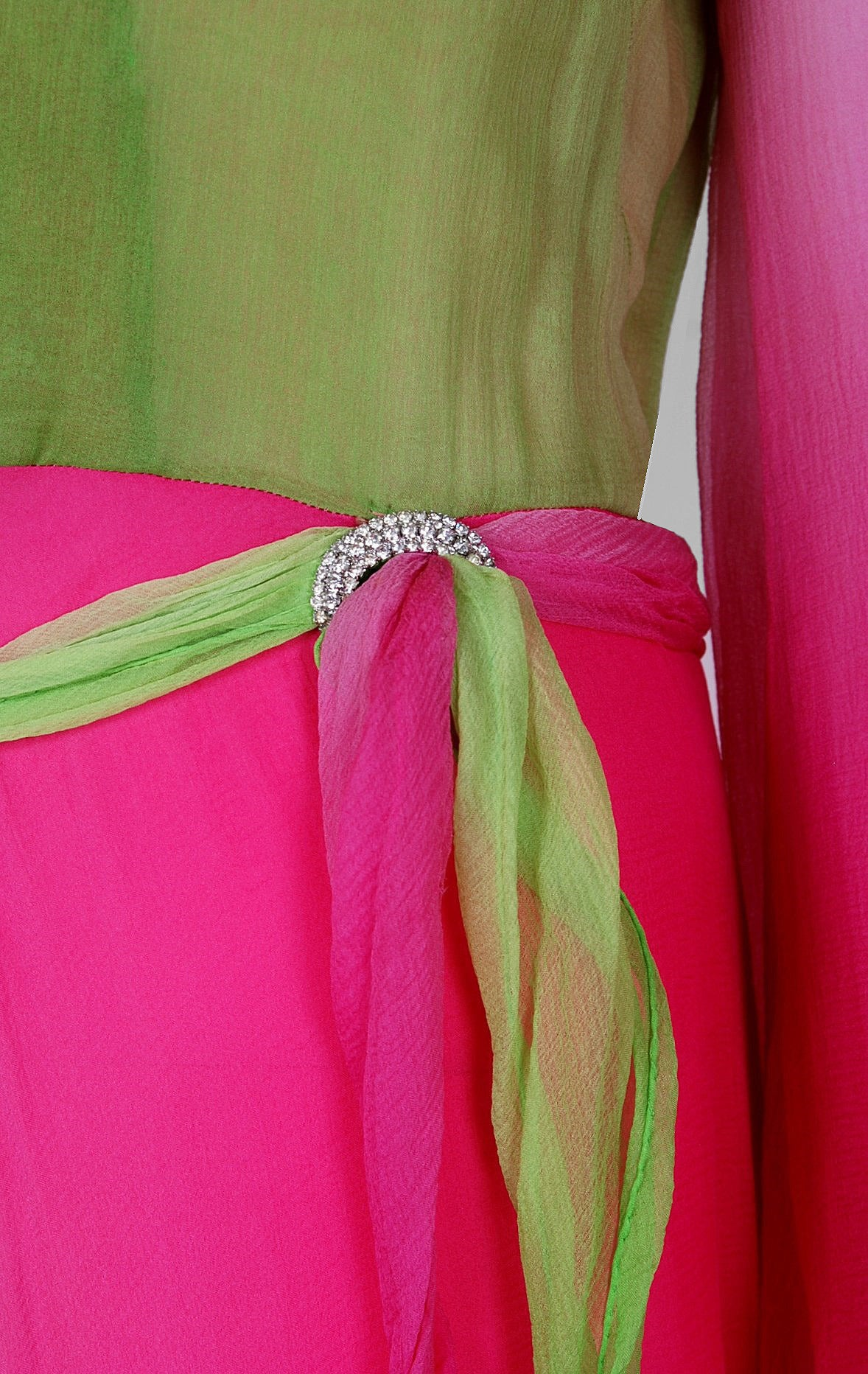 1970's Pauline Trigere Pink & Green Ombre Silk Chiffon Bell-Sleeve Goddess Gown 5