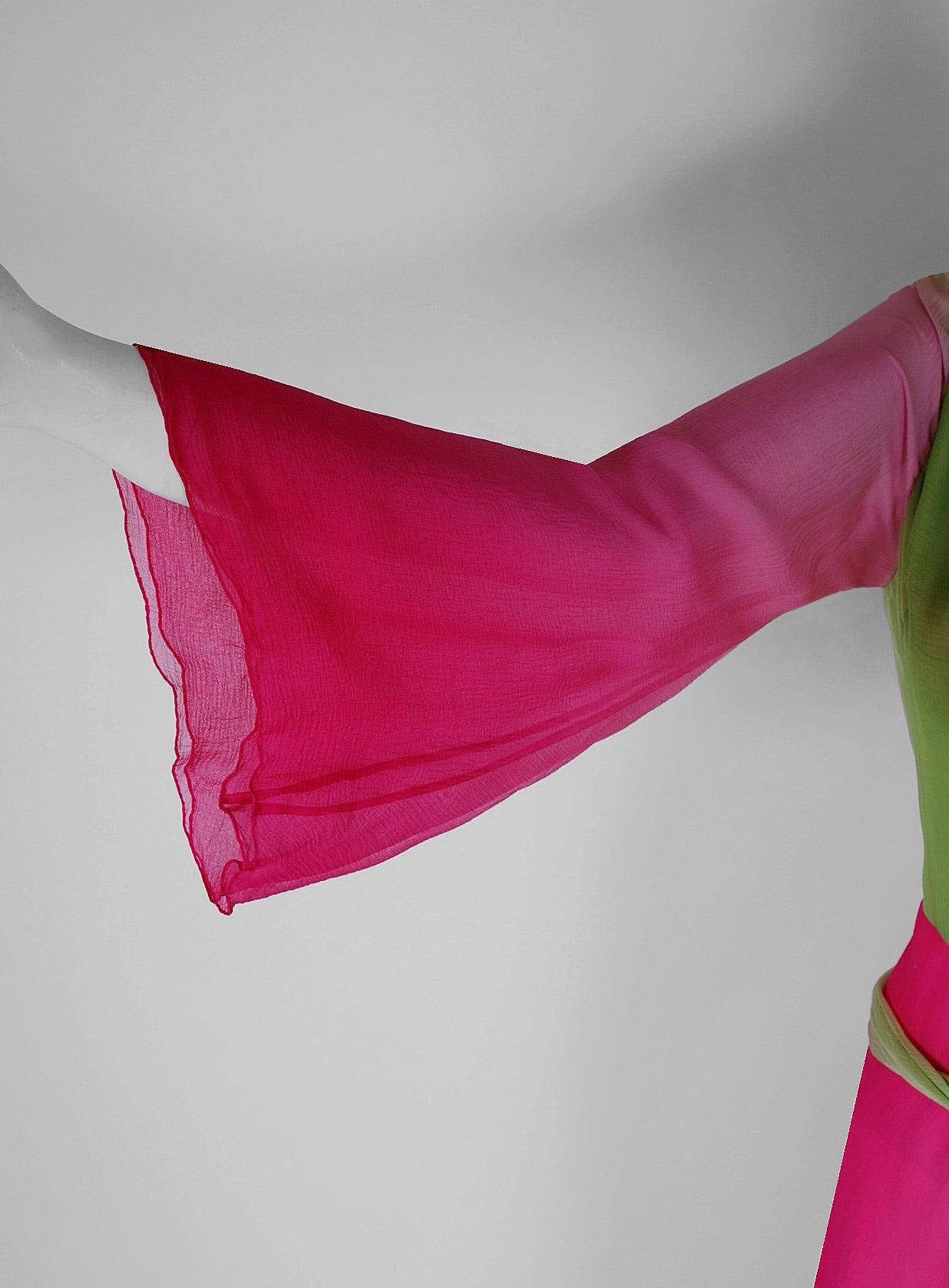 1970's Pauline Trigere Pink & Green Ombre Silk Chiffon Bell-Sleeve Goddess Gown 4