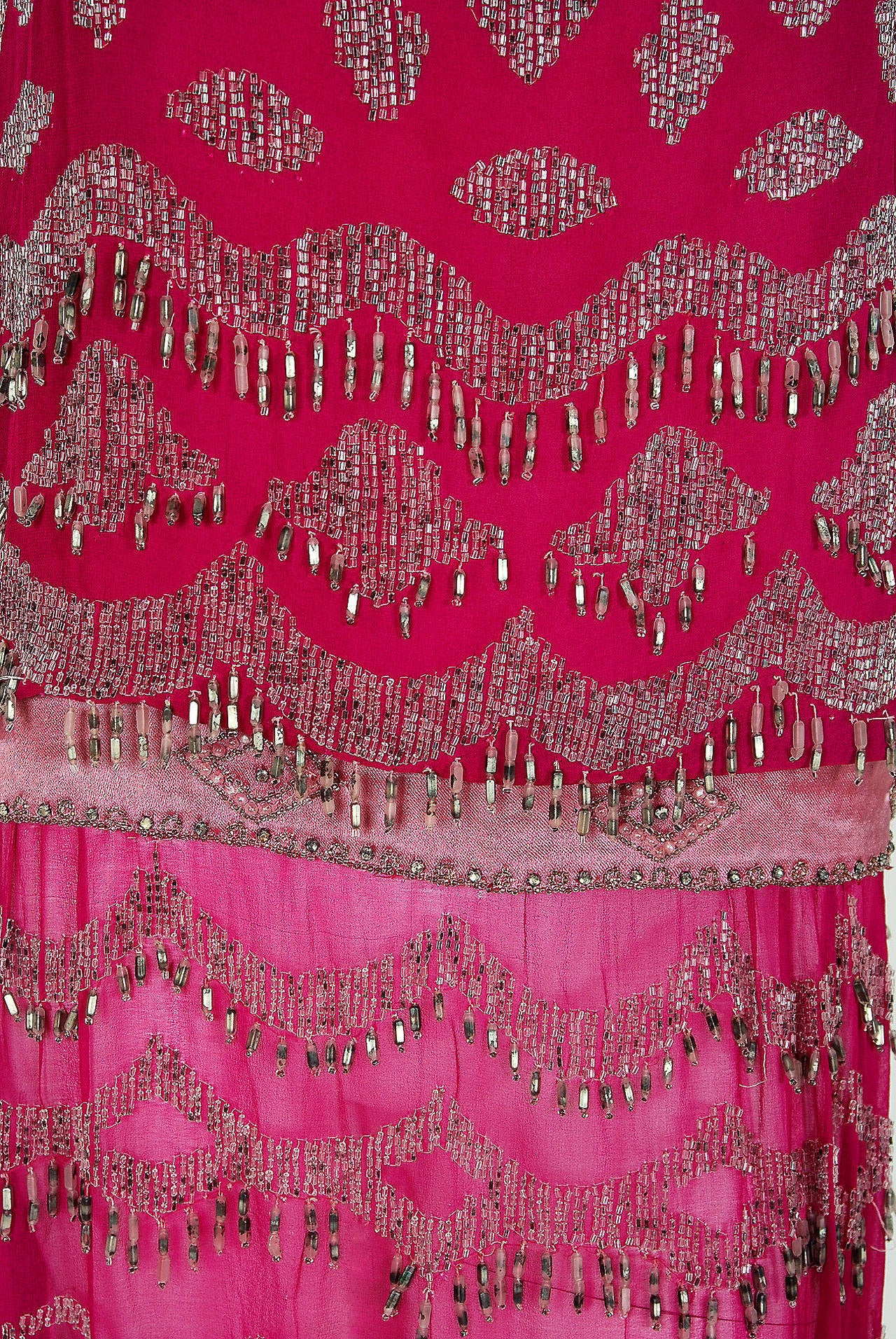 1920's French Couture Fuchsia-Pink Beaded Deco Silk-Chiffon Flapper Dress In Excellent Condition For Sale In Beverly Hills, CA