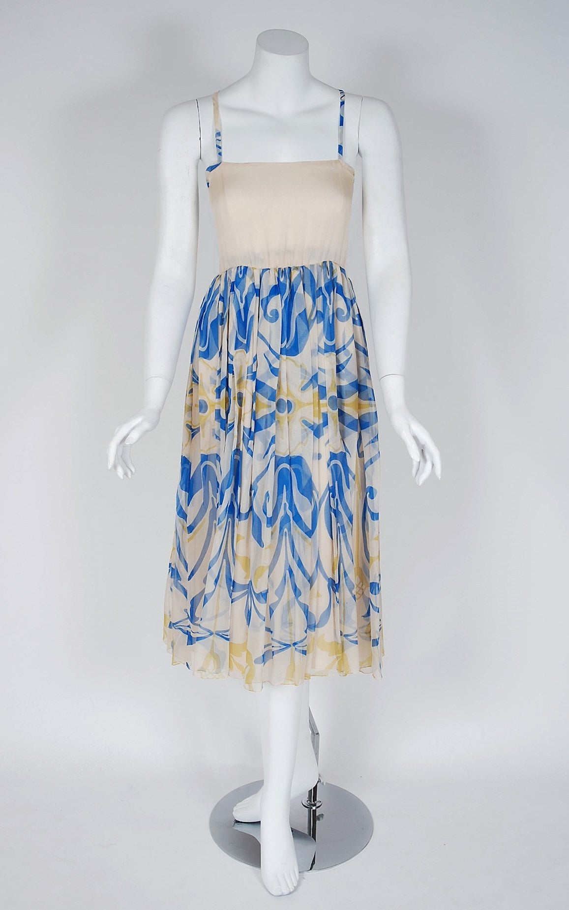 1970's Galanos Blue Yellow Abstract Print Silk-Chiffon Goddess Dress & Shawl 3