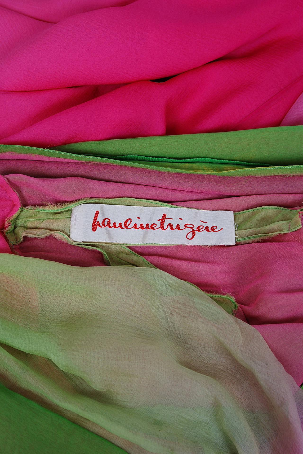 1970's Pauline Trigere Pink & Green Ombre Silk Chiffon Bell-Sleeve Goddess Gown 7
