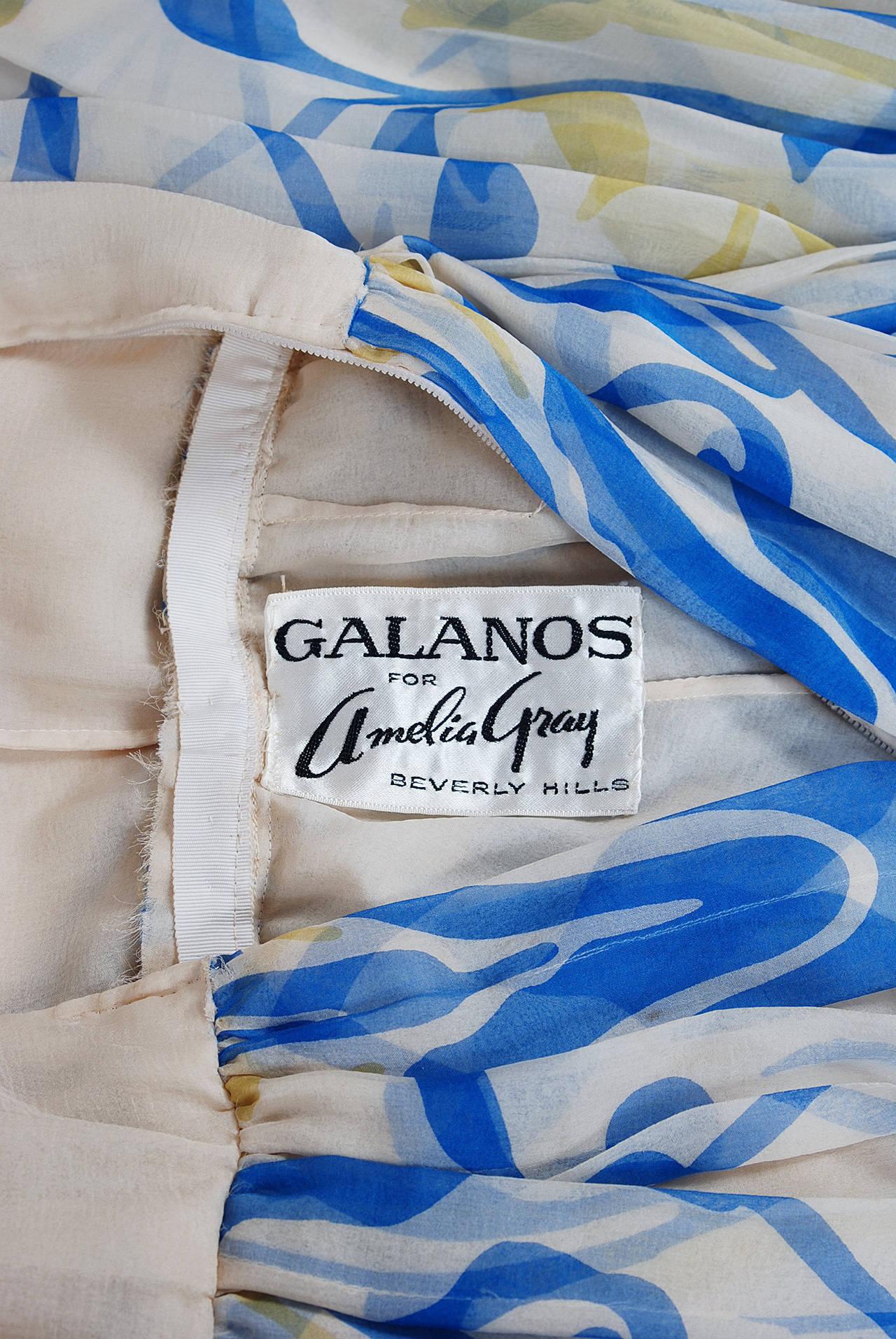 1970's Galanos Blue Yellow Abstract Print Silk-Chiffon Goddess Dress & Shawl 6