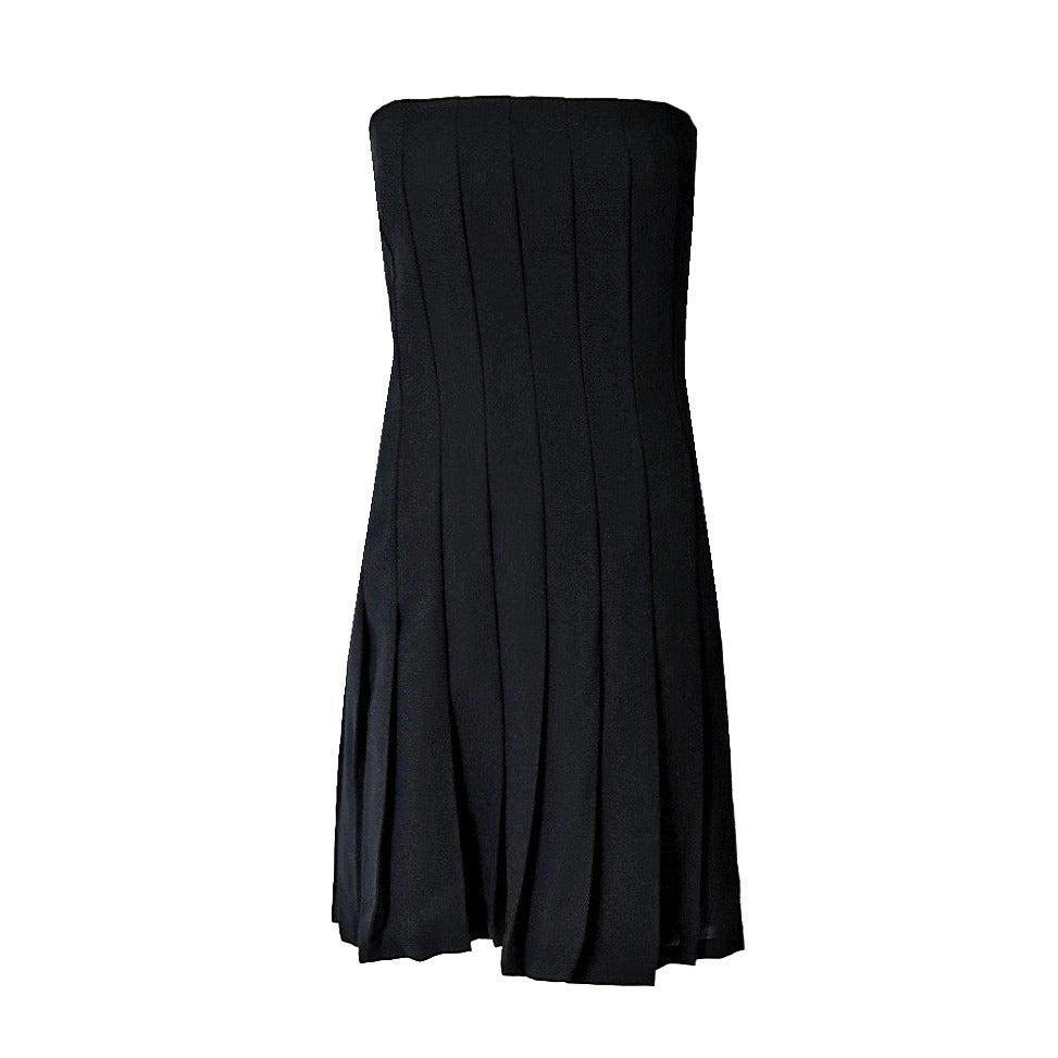 1990's Bill Blass Strapless Black Crepe Carwash Pleated Cocktail Dress