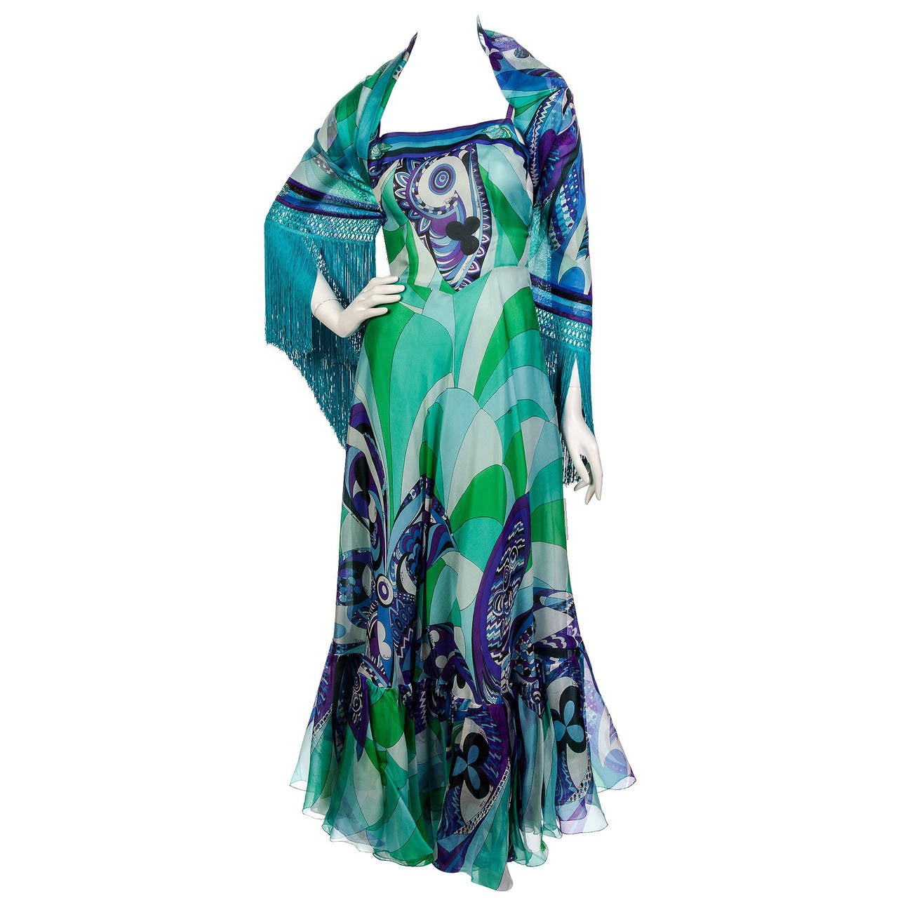 1960's Emilio Pucci Couture Blue Green Print Silk Mermaid Dress & Fringed Shawl