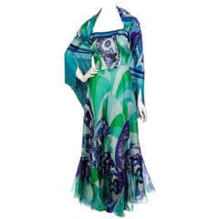 1960's Emilio Pucci Couture Blue Green Print Silk Mermaid Dress & Fringed Shawl