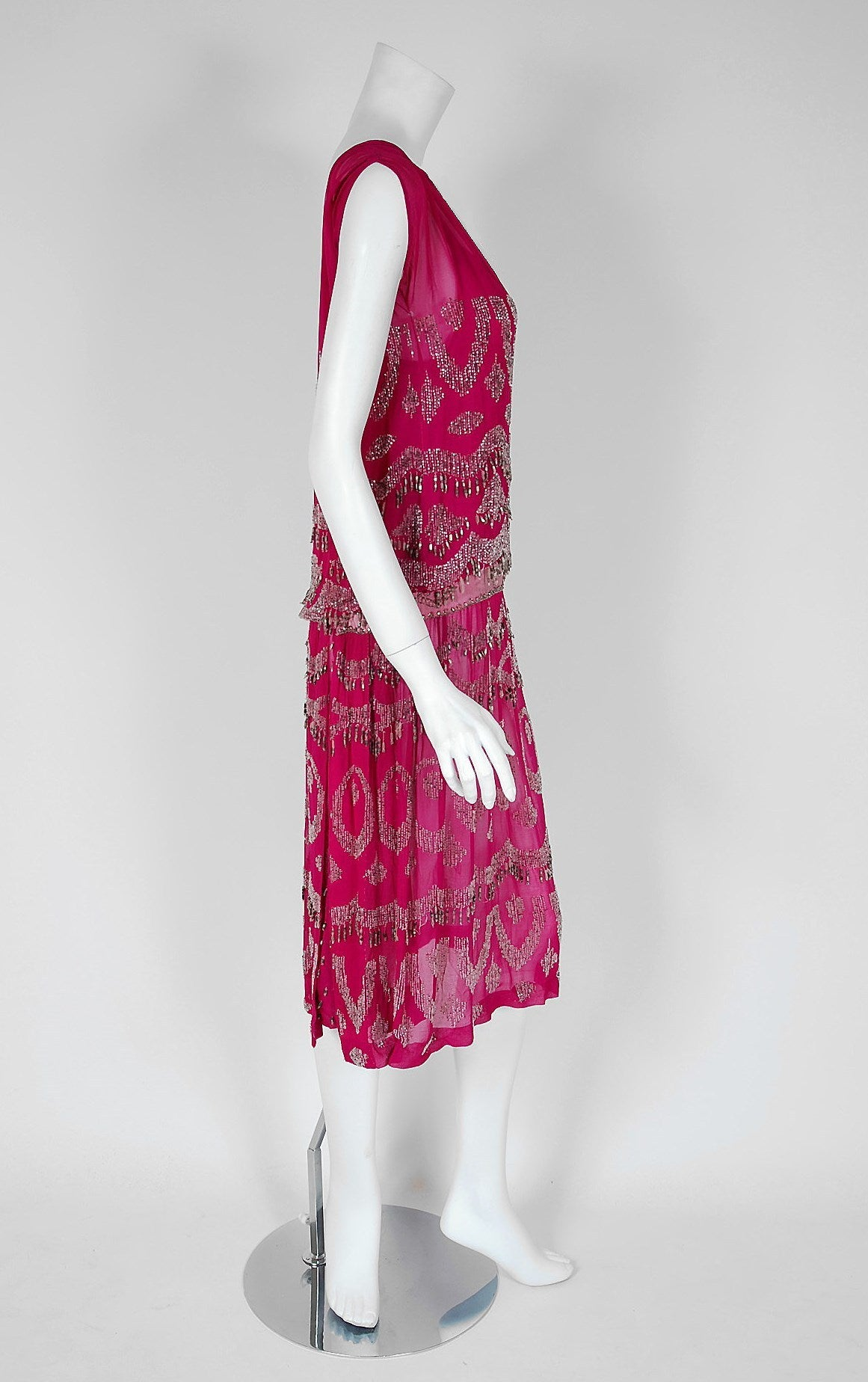 Red 1920's French Couture Fuchsia-Pink Beaded Deco Silk-Chiffon Flapper Dress For Sale