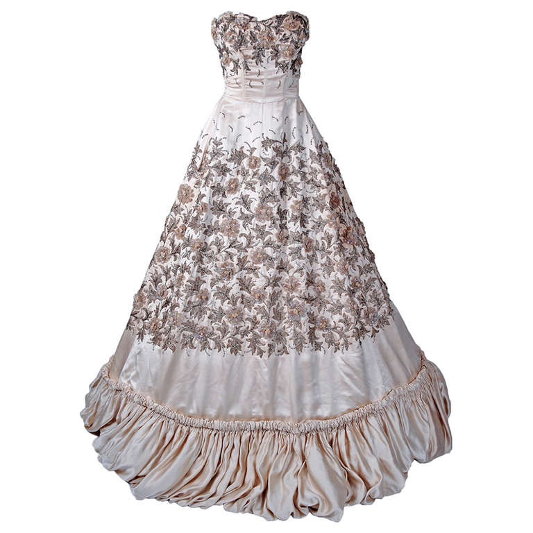 1955 Pedro Rodriguez Couture Strapless Champagne Embroidered Beaded Satin Gown