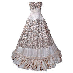 1950's Pedro Rodriguez Haute-Couture Champagne Embroidered Beaded Satin Gown