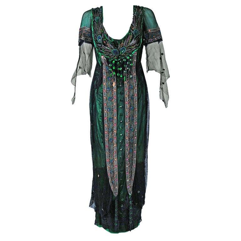 Metzer couture edwardian metallic embroidered beaded